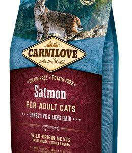 alimento per gatti pelo lungo al salmone